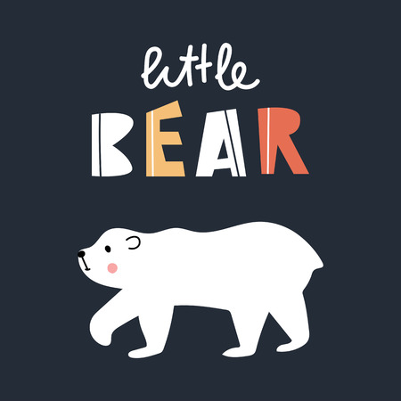 Little bear - Cute kids hand drawn nursery poster with white bear and lettering on dark background. Color vector illustration in scandinavian style.  イラスト・ベクター素材