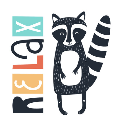 Relax - Cute kids hand drawn nursery poster with raccoon and lettering on white background. Color vector illustration in scandinavian style.