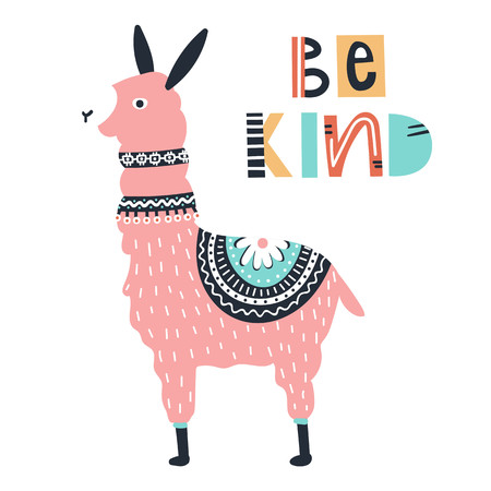 Be kind - Cute kids hand drawn nursery poster with rose llama and lettering on white background. Color vector illustration in scandinavian style.