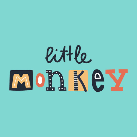 Little Monkey - cute and fun colorful hand drawn lettering for kids print. Vector illustration.
