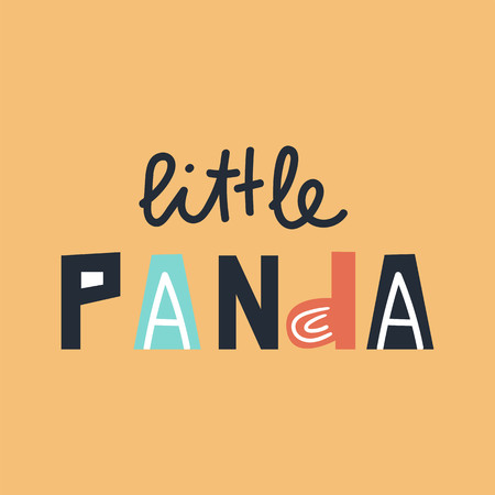 Little Panda - cute and fun colorful hand drawn lettering for kids print. Vector illustration. Иллюстрация