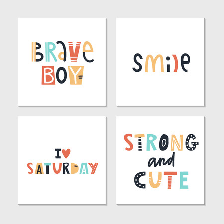 Collection of children lettering cards with cute phrases and words. Perfect for nursery posters. Vector illustration  イラスト・ベクター素材