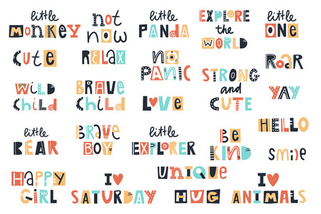 Big kids collection of fun summer lettering phrases cut out of paper. Vector illustration.