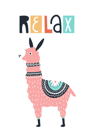 Relax - Cute kids hand drawn nursery poster with llama animal and lettering. Color vector illustration in scandinavian style.  イラスト・ベクター素材