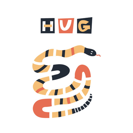 Hug - Cute kids hand drawn nursery poster with snake animal and lettering. Color vector illustration in scandinavian style.
