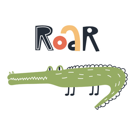 Roar - Cute kids hand drawn nursery poster with crocodile animal and lettering. Color vector illustration in scandinavian style.