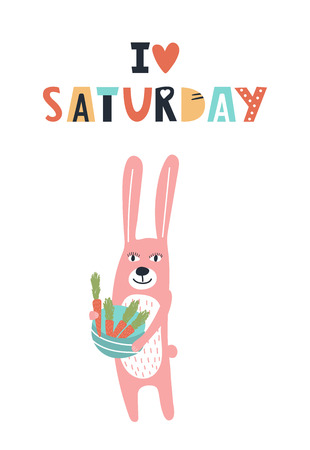 I love saturday - Cute kids hand drawn nursery poster with hare animal and lettering. Color vector illustration in scandinavian style.