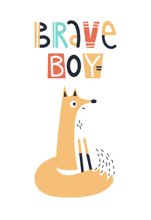 Brave boy - Cute kids hand drawn nursery poster with fox animal and lettering. Color vector illustration in scandinavian style.