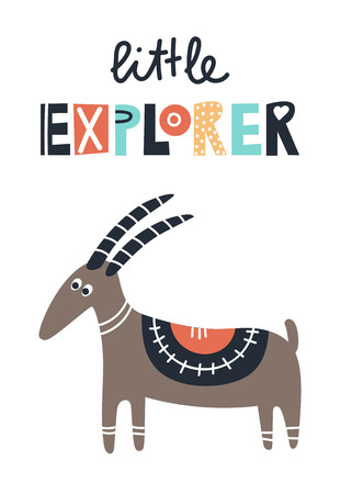 Little explorer - Cute kids hand drawn nursery poster with goat animal and lettering. Color vector illustration in scandinavian style.  イラスト・ベクター素材