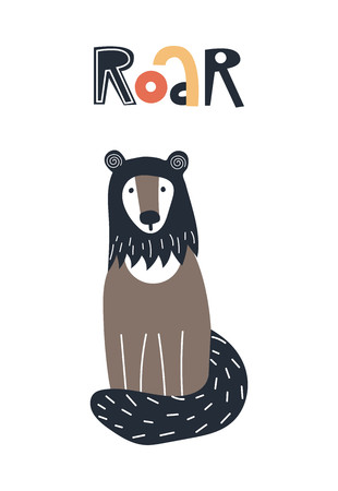Roar - Cute kids hand drawn nursery poster with wolverine animal and lettering. Color vector illustration in scandinavian style.