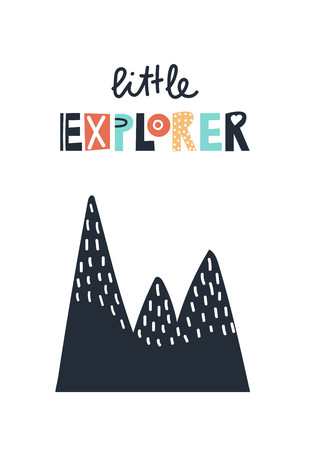 Little explorer - cute and fun colorful hand drawn lettering for kids print. Vector illustration.