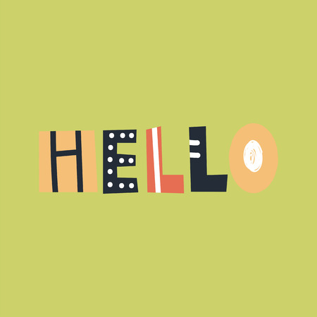 Hello - cute and fun colorful hand drawn lettering for kids print. Perfect for nursery. Vector illustration