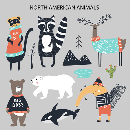 Set of diferent cartoon North American animals. Cute handdrawn kids clip art collection. Vector illustration.