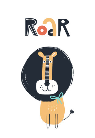 Roar - Cute kids hand drawn nursery poster with lion animal and lettering. Color vector illustration in scandinavian style.