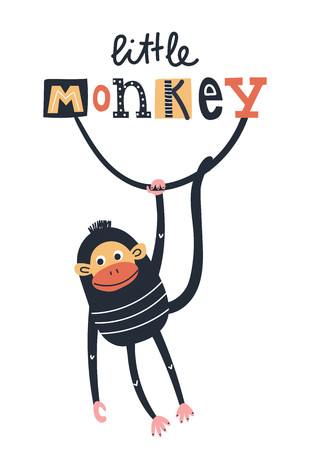 Little monkey - Cute kids hand drawn nursery poster with monkey animal and lettering. Color vector illustration in scandinavian style.