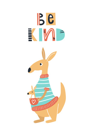 Be kind - Cute kids hand drawn nursery poster with kangaroo animal and lettering. Color vector illustration in scandinavian style.