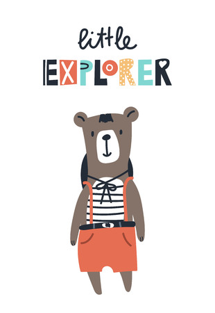 Little explorer - Cute kids hand drawn nursery poster with bear animal and lettering. Color vector illustration in scandinavian style.