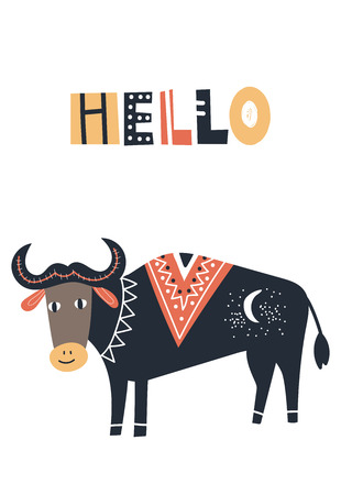 Hello - Cute kids hand drawn nursery poster with cow animal and lettering. Color vector illustration in scandinavian style.