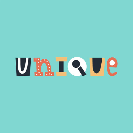 Unique - cute and fun colorful hand drawn lettering for kids print. Perfect for nursery. Vector illustration