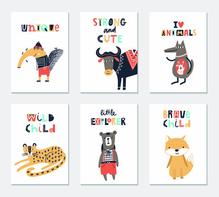 Collection of children cards with cute animals and lettering. Perfect for nursery posters. Vector illustration. Vettoriali