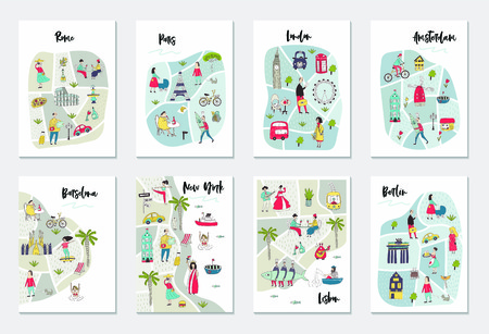 Big set of illustrated maps of of European cities with cute and fun hand drawn characters, plants and elements. Color vector illustration