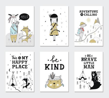 Collection de cartes pour enfants avec des animaux mignons et des lettres. Parfait pour les affiches de pépinière. Illustration vectorielle.