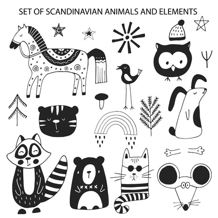 Big set of diferent cartoon animals. Cute handdrawn kids clip art collection. Vector illustration.