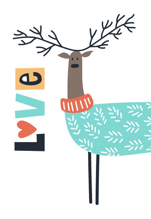Love - Cute kids hand drawn nursery poster with deer and lettering on white background. Color vector illustration in scandinavian style.  イラスト・ベクター素材