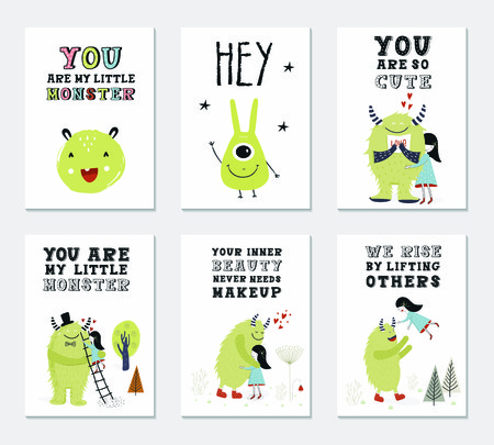 Collection of children cards with cute monsters and lettering. Perfect for nursery posters. Vector illustration