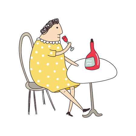 An elderly woman sits at a table in a restaurant in a yellow dress and drinks wine from a glass. Vector illustration