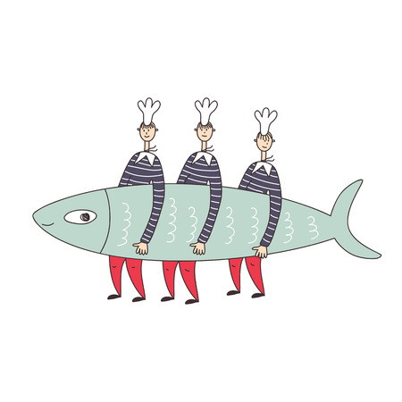 Three sailors cooks caught and carry a big sardine fish. Vector illustration.