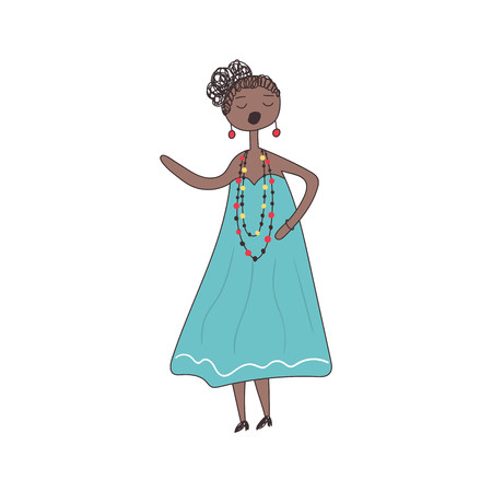 African black woman sings song in blue dress. Vector illustration.