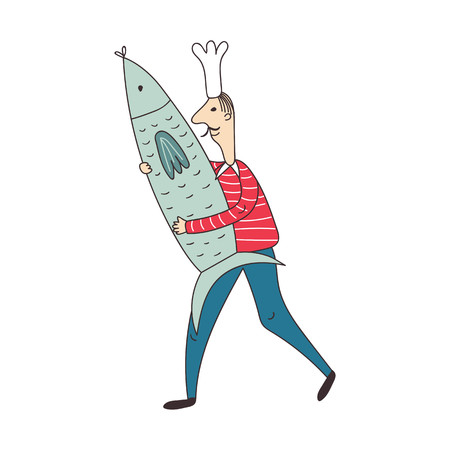Sailor cook caught and carry a big sardine fish. Vector illustration.