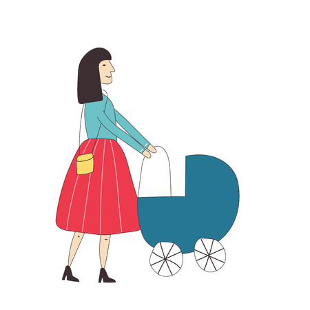 Young woman walking outside with baby carriage. Vector illustration.  イラスト・ベクター素材