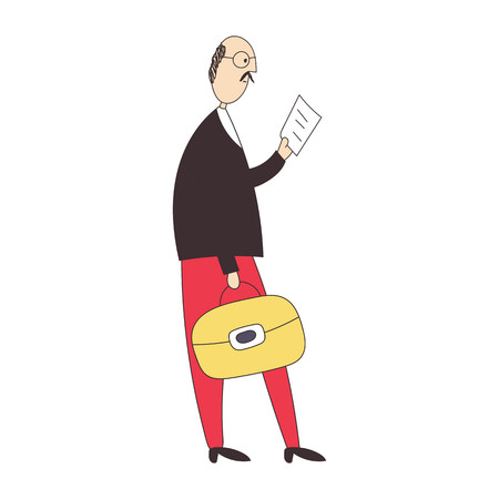 The business man in a suit with a suitcase reads the morning newspaper. Vector illustration.