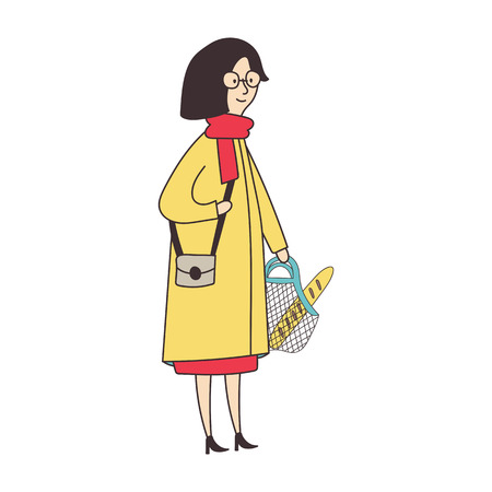 Woman in a yellow coat holding a shopping bag. Vector illustration.  イラスト・ベクター素材