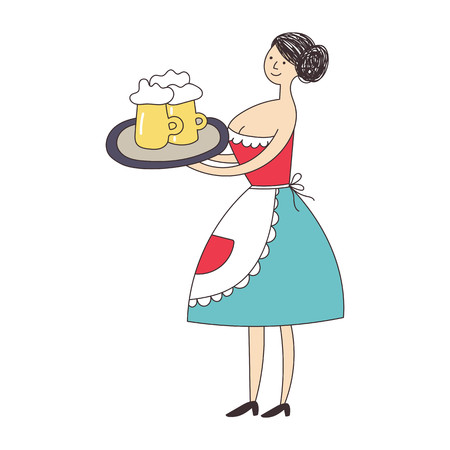 Female waiter in uniform carrying a large tray with glasses of beer. Vector illustration.