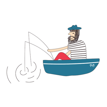Bearded man fisherman sitting in a boat and fishing with fishing rods. Vector illustration.