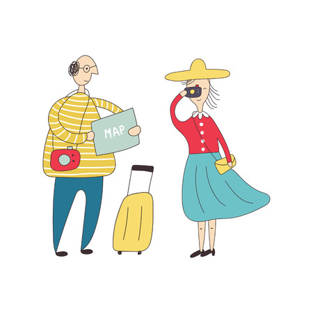 Tourists in the city. Man with a suitcase looks at a map. A woman next to him photographs sights. Vector illustration.  イラスト・ベクター素材