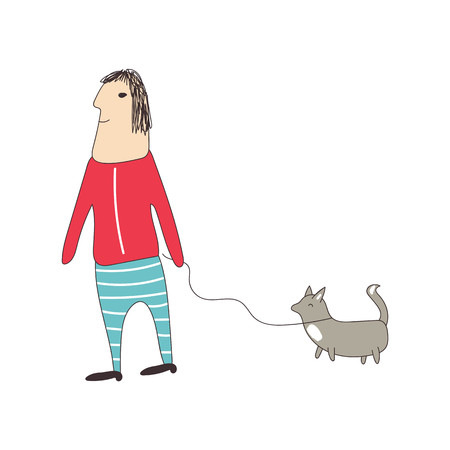 Man walking a dog on a leash. Vector illustration.