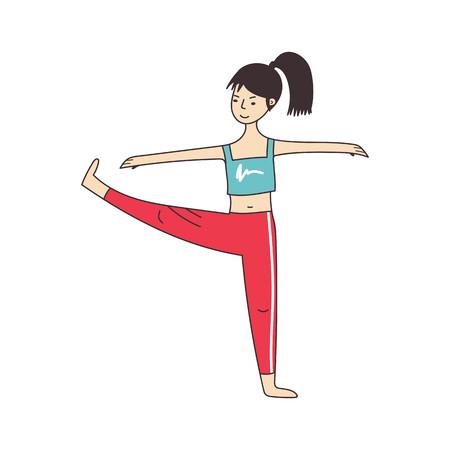 Girl doing yoga or doing exercises. Vector illustration Stock Illustratie
