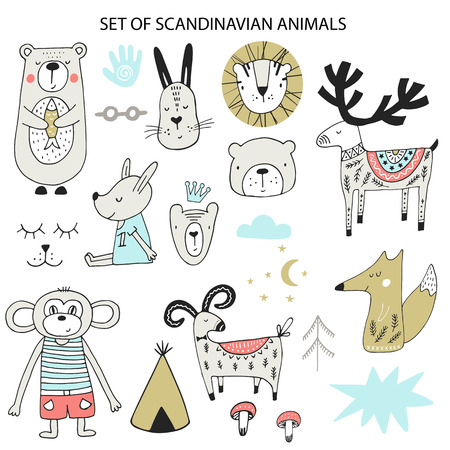 Big set of diferent cartoon animals. Cute handdrawn kids clip art collection. Vector illustration