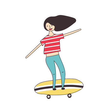 Girl rides around the city on a skateboard. Vector illustration Vectores