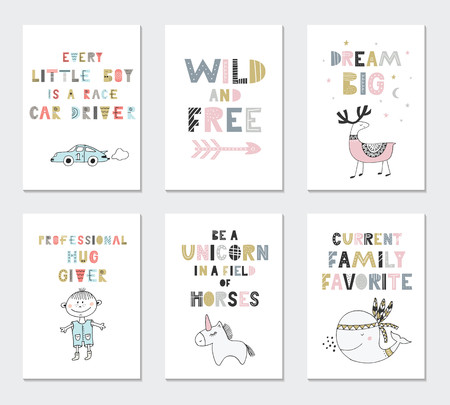 Collection of children cards with cute animals and lettering. Perfect for nursery posters. Vector illustration
