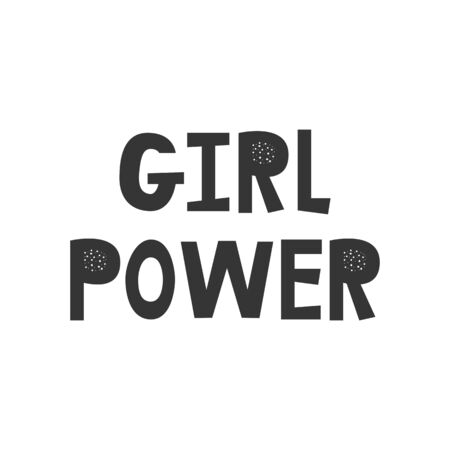 Girl Power - Kids superhero poster with black and white hand drawn lettering. Baby nursery wall art. Vector illustration. Ilustración de vector