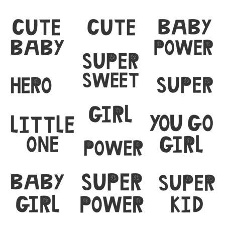 Collection of superhero black and white hand drawn lettering. Vector illustration set. Ilustración de vector