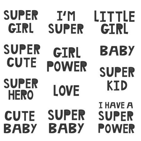 Collection of superhero black and white hand drawn lettering. Vector illustration set.