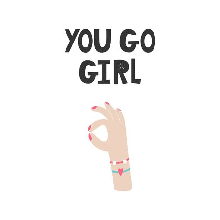 You go Girl - Kids superhero poster with black and white hand drawn lettering. Baby nursery wall art. Vector illustration.