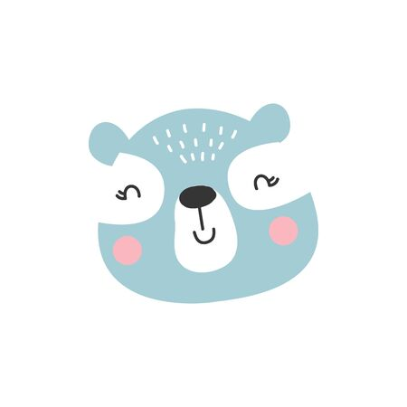 Cute blue bear animal. Cartoon kids character, vector illustration.