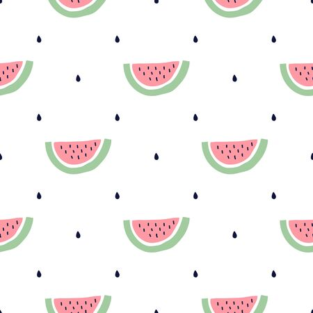 Seamless pattern with a slice of watermelons. Vector illustration. 矢量图像